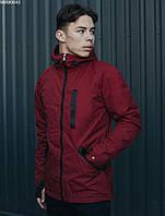 Мужская бордовая весенняя куртка на микрофлисе Staff snou bordo MBM0043