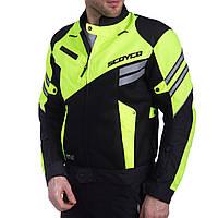 Мотокуртка текстильная с защитой SCOYCO (PL, PVC, M-XL, черный-салатовый)