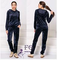 Спортивный велюровый темно-синий костюм женский