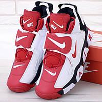 Мужские высокие Кроссовки Nike AirBarrage в красно-белом цвете 1в1 Как Оригинал! ТОП (ААА+)
