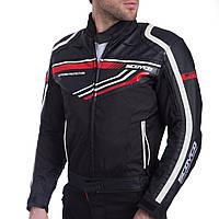 Мотокуртка текстильная с защитой SCOYCO (PL, PVC, XL, черный-красный)
