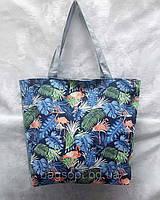 Молодежная тканевая пляжная сумка принт Фламинго