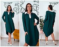 Батальне вільне плаття з білим комірцем , 3 кольори.Р-ри 46-60, фото 1