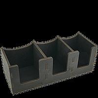 Органайзер для крышек на 3 секции горизонтальный деревянный чёрный 290*113*100 мм, фото 1
