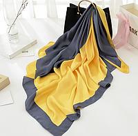 Шелковый платок Алисия 90*90 см желтый/серый, фото 1