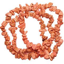 Бусины Сколы Камня Говлит Крупные Кораллово - Розовый, Размер: 6-12*4-8 мм., Отв. 1 мм., около 85 см. нить