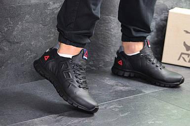 Мужские кроссовки черные натуральная кожа подошва резина демисезонная мужская обувь 15\7500 44