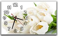 Оригинальные настенные часы для дома ReD Белые тюльпаны, 30х50 см