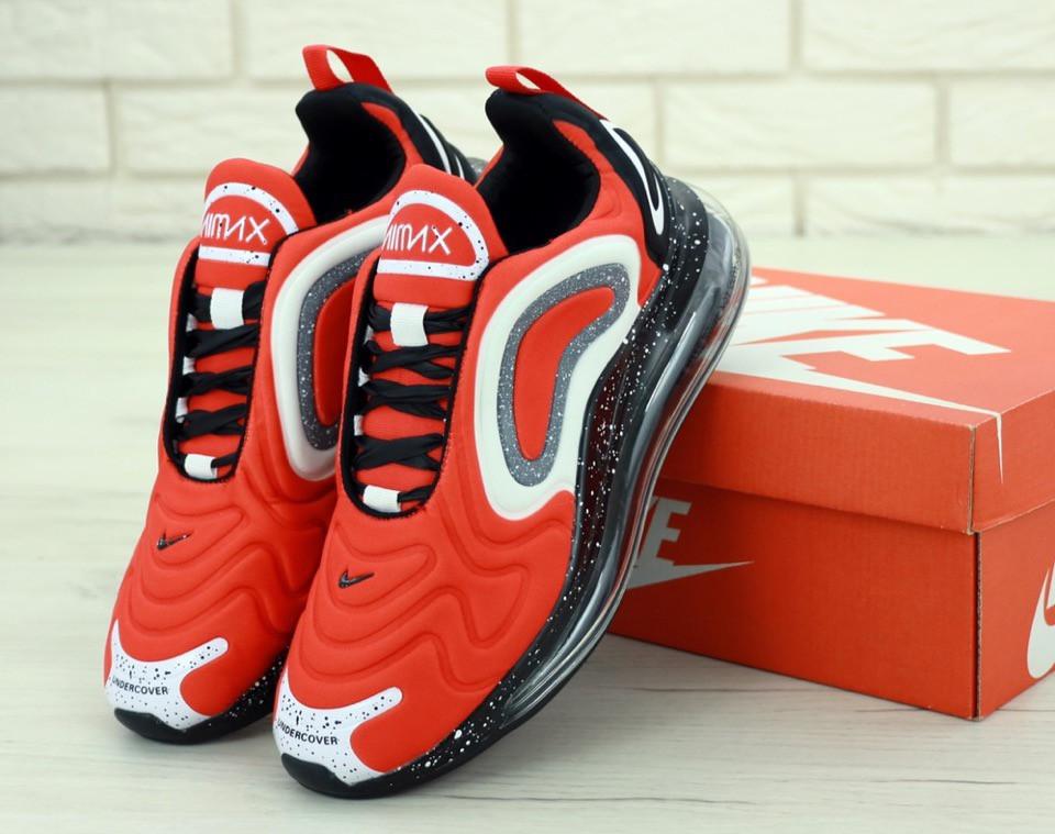 Мужские кроссовки Nike Air Max 720 демисезонные текстильные найки на шнуровке красные ,  ТОП-реплика