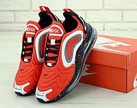 Мужские кроссовки Nike Air Max 720 демисезонные текстильные найки на шнуровке красные ,  ТОП-реплика, фото 1