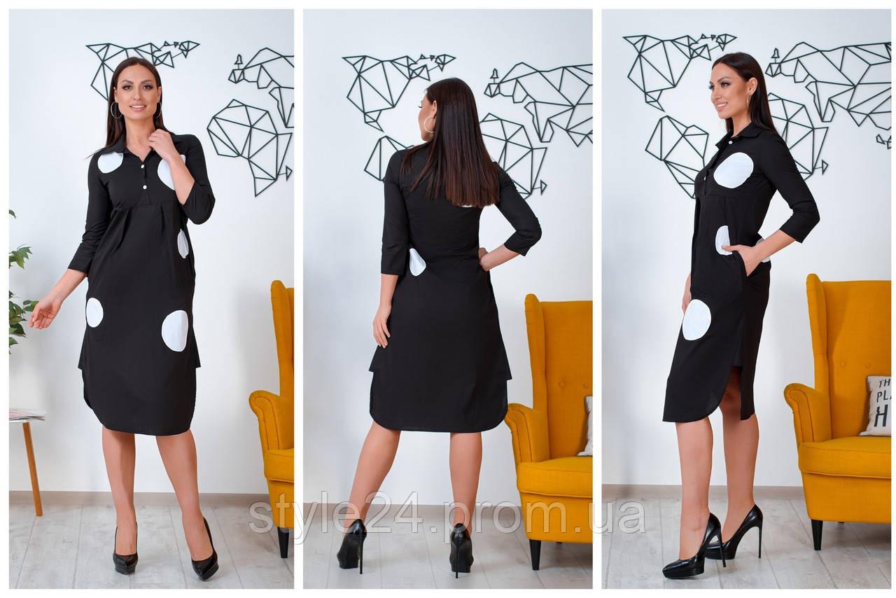 ЖІноче батальне плаття-рубашка в горох ,3 кольори .Р-ри 46-60