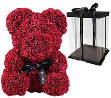 Мишко з 3D троянд Zupo Crafts 25 см Бордовий + подарункова упаковка