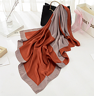 Шелковый платок Алисия, 90*90 см, терракот/капучино