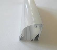 Кутовий алюмінієвий профіль з матовим розсіювачем 2м для LED стрічки