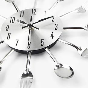 """Настенные часы на кухню """"Ложки-вилки"""", серебро, фото 2"""
