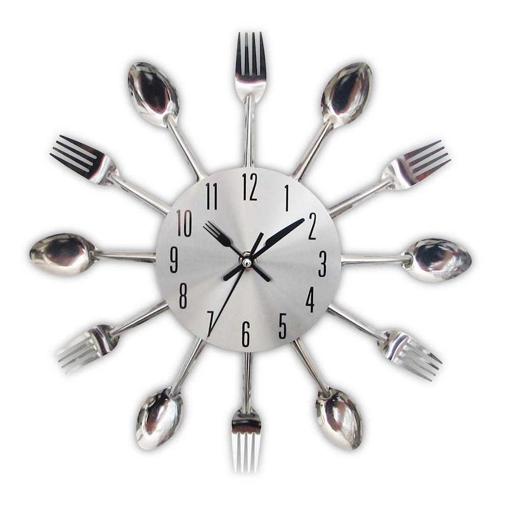 """Настенные часы на кухню """"Ложки-вилки"""", серебро"""