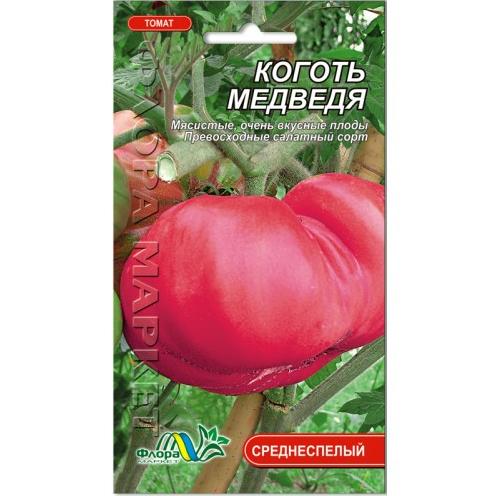 Томат Коготь медведя, крупный красный среднеспелый, розово-красный, семена 0.1 г