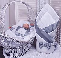 Демисезонный комплект одежды для новорожденных Стиль белый с серым