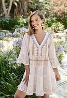 Платье свободного силуэта цвета шампань из хлопка Fresh-cotton 2306