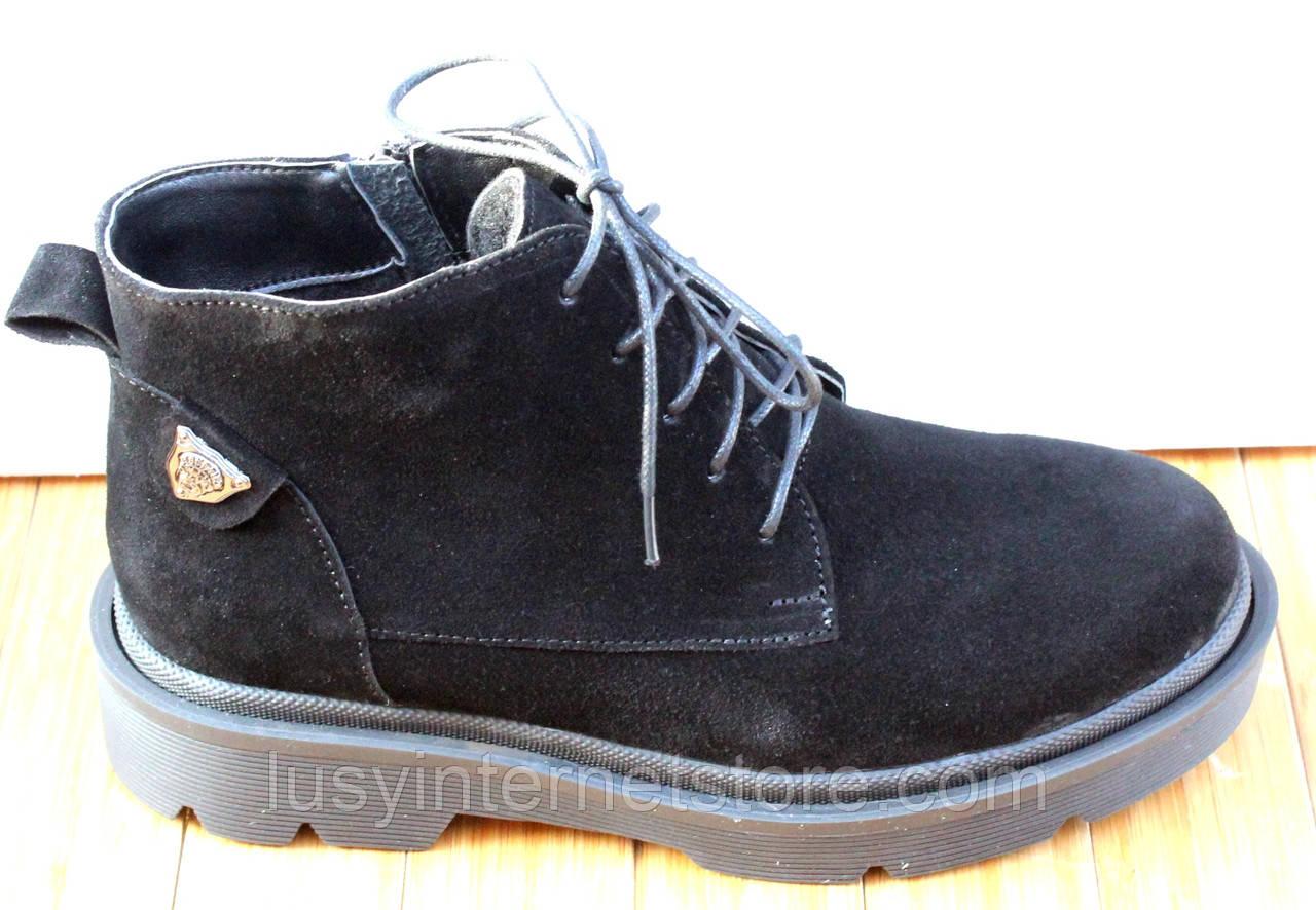 Черевики жіночі замшеві чорні туфлі на низькому каблуці від виробника модель СК103-1