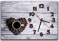 Оригинальные серые настенные часы для кухни ReD Кофейное время, 30х45 см