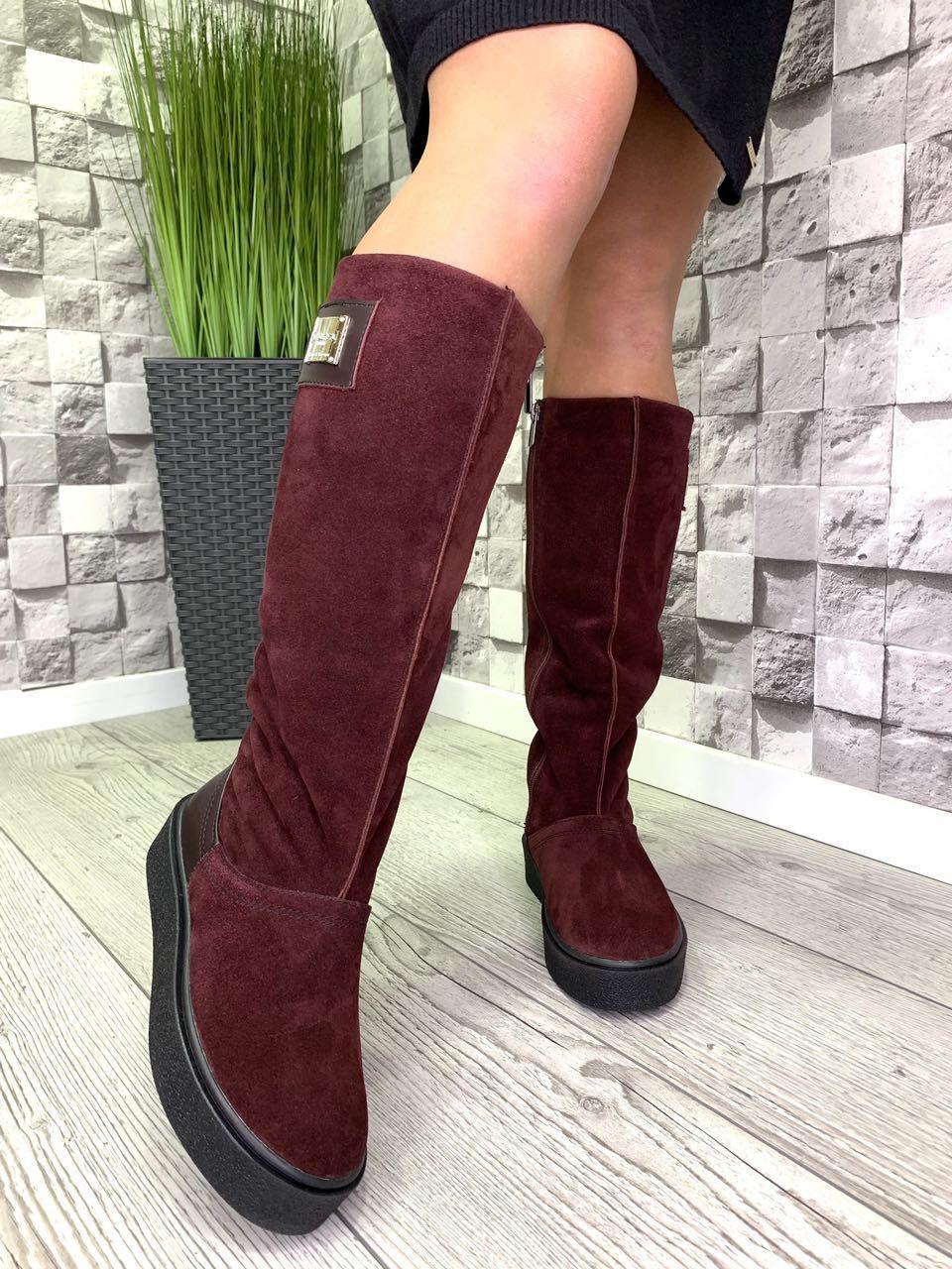Женские кожаные сапоги высокий Угг зима бордовые