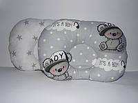 """Дитяча ортопедична подушка """"Ведмедики на сірому"""", фото 1"""
