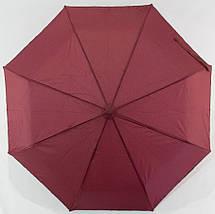 Зонт женский полуавтомат с куполом 96 см DFH однотонный бордовый. Анти-ветер, 8 спиц., фото 2