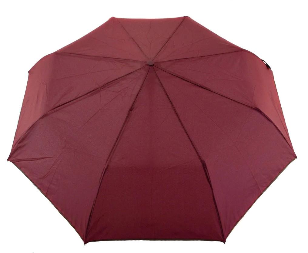 Зонт женский полуавтомат с куполом 96 см DFH однотонный бордовый. Анти-ветер, 8 спиц.
