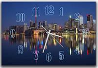 Оригинальные синие настенные часы в гостиную ReD Огни ночного города, 30х45 см