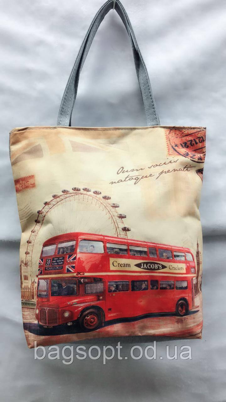 Эко сумка с принтом тканевая молодежная на молнии