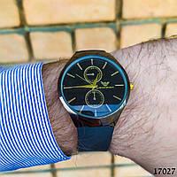 Часы мужские в стиле Armani. Мужские наручные часы черные. Часы с черным циферблатом Годинник чоловічий