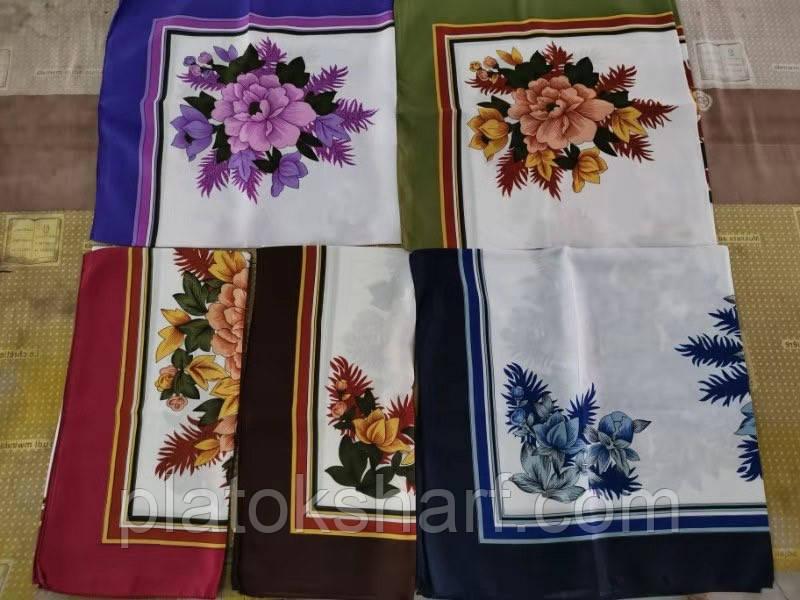 Платок шелк, женский головной платок «Маруся» 73*73 см