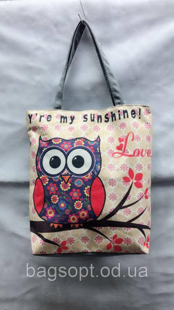 Эко-сумка тканевая для пляжа и шоппинга с принтом Совушка