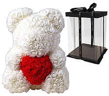 Мишка с сердцем из 3D роз Teddy Rose 40 см Белый + подарочная упаковка