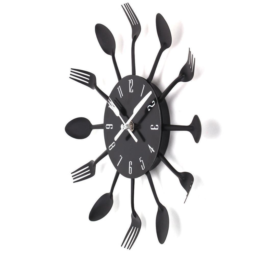"""Настенные часы на кухню """"Ложки-вилки"""", черные"""