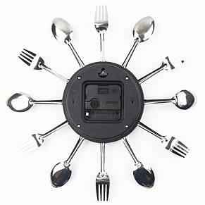 """Настенные часы на кухню """"Ложки-вилки"""", черные, фото 2"""