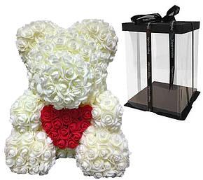 Мишка с сердцем из 3D роз Teddy Rose 40 см Шампанский + подарочная упаковка, фото 2