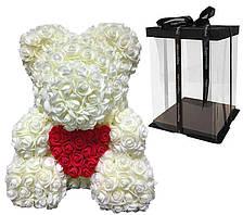 Мишка с сердцем из 3D роз Teddy Rose 40 см Шампанский + подарочная упаковка