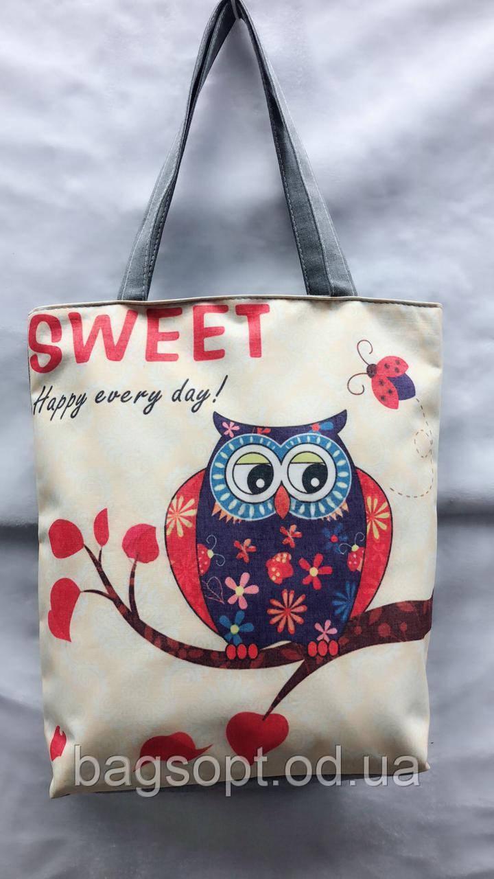 Эко-сумка шопер молодежная тканевая с рисунком Сова