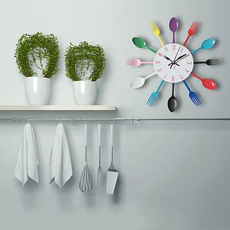 """Настенные часы на кухню """"Ложки-вилки"""", разноцветные, фото 2"""