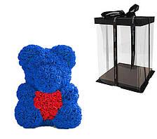 Мишко з серцем 3D троянд Teddy Rose 40 см Синій + подарункова упаковка