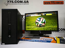 Компьютер HP ProDesk Core i3-4130 3.4ГГц, Монитор 23' Dell (1920x1080, SoundBar), клавиатура, мышь