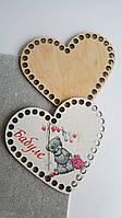 Комплект заготовок в форме сердца с рисунком 16см фанера