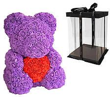 Мишка с сердцем из 3D роз Teddy Rose 40 см Фиолетовый + подарочная упаковка