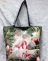 Тканевая сумка шоппер летняя пляжная принт фламинго