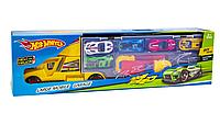 Трейлер автовоз Хот Вилс 6 машинок и дорожные знаки Hot Wheels