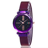 Женские часы starry sky watch на магнитной застежке purple