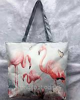 Летняя эко-сумка шоппер тканевая молодежная принт фламинго