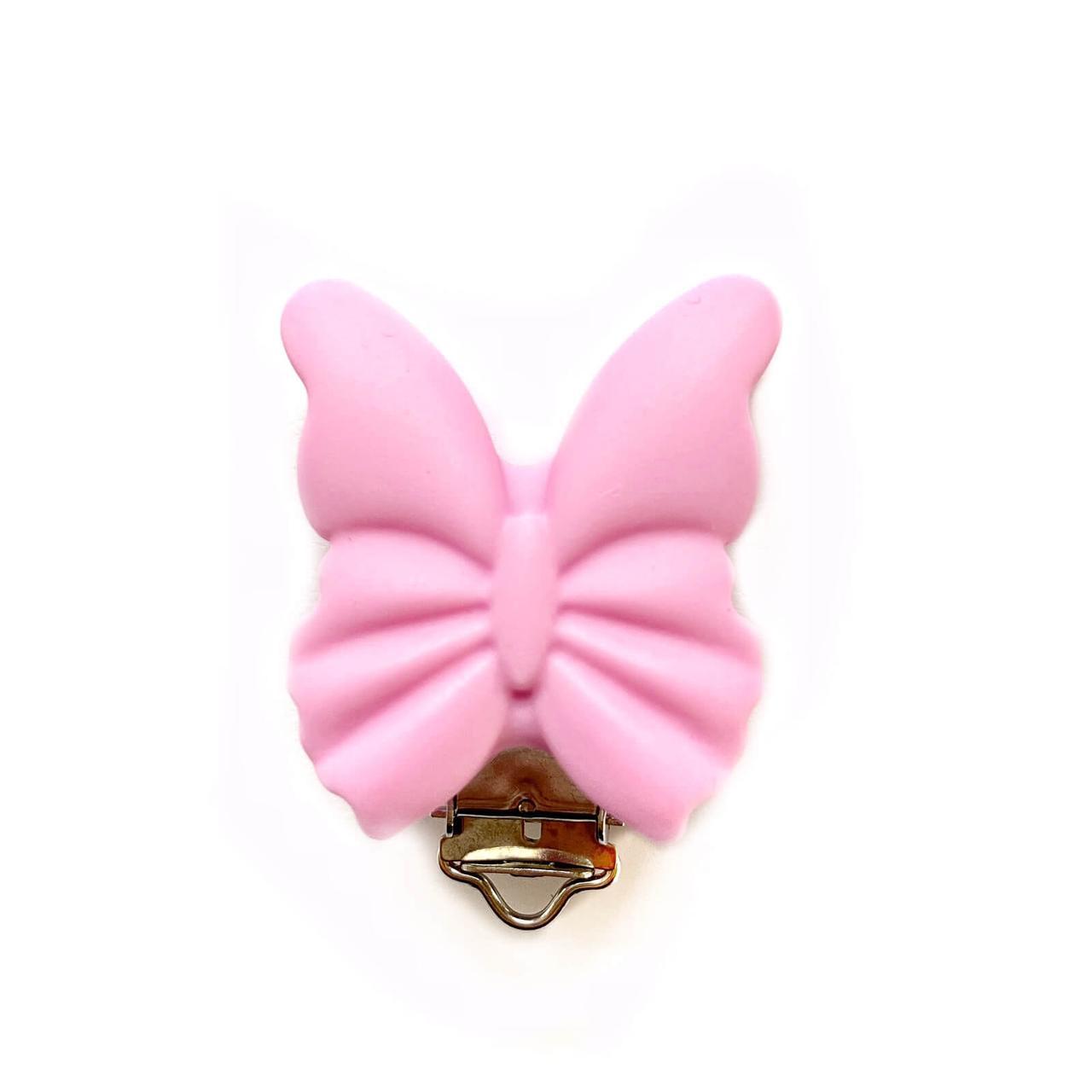 Клипса Бабочка (пейл пинк), силиконовая ПРИЩЕПКА для соски